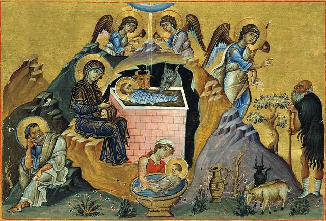 The Nativity. Menologion of Basil II, 10th c. (Public domain)